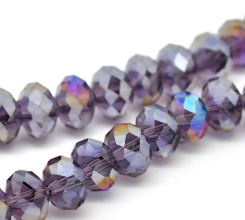 72 Purple AB Color Crystal Glass Faceted Rondelle Beads 8mm